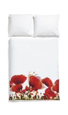 White pocket bedding #poppy #white #bedlinen #watercolor