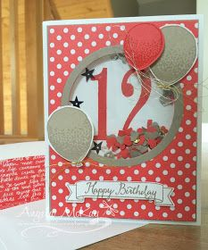 I'm so thrilled with this week's Stampin' Royalty Challenge colour combo! It is so beautiful and showcases two of the current In Colours! I couldn't resist making a shaker card with this one!Balloon Adventures set with big number inside shaker part Kids Birthday Cards, Birthday Numbers, Handmade Birthday Cards, Greeting Cards Handmade, Shaker Cards, Card Tags, Creative Cards, Kids Cards, Anniversary Cards