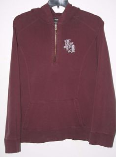 Harley Davidson Burgundy Hoodie Jacket Size 3W 1/2 Zip Rhinestone Studded. Plus Size Fashion Fall Fashion