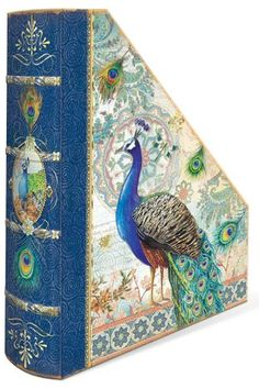 Magazine holder. Peacock.