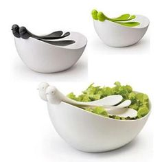 """Ladies do like salads! A nice gift is the """"Sparrow Salad Set"""" by Qualy design"""