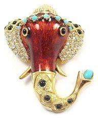 CINER Enamelled, Pave Crystal, Cabochons Raj Elephant Head Pin-- I love elephants