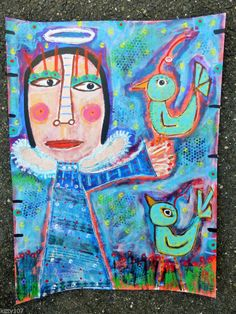 """Tracey Ann Finley Original Outsider Folk Collage Painting Angel Wings Birds NR """"Angel's Feathered Friends"""""""