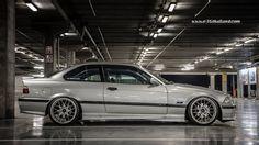 Silver BMW e36 coupe on 18''  monoblock BBS RC wheels