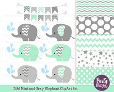 Mint Elephant Clipart, Cute Chevron Elephant Sprinkle Water, Animals Nursery, Clipart with Digital Paper Pack, D186. This set includes 28 images total (14 in each format PNG and JPG). 9 Cliparts and 5 Matching Digital Papers  They are Perfect for making stickers, scrapbook, all paper craft and much more. You can print them at home as much as you want to.  ♥♥♥♥ YOU WILL RECEIVE: - 1 of each image as shown in the picture saved separately as a 300 dpi high resolution. - The preview image is not…