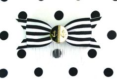 Anchors Cutie Stripes Hair Comb  Black by PunkUpBettie on Etsy, $10.50