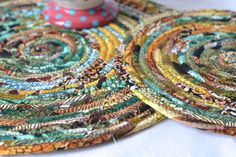 I handmade these lovely Earth Tone Trivets, Set of 2....  Handmade by me.... Lovely Rustic Coiled Fabric Hot Pads... by WexfordTreasures