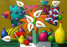 - XAVIER PORTILLA (Ecuador) Ceramic Painting, Silk Painting, Flower Vases, Flower Art, Flowers In Vase Painting, Tangle Art, Calla Lillies, Naive Art, Whimsical Art