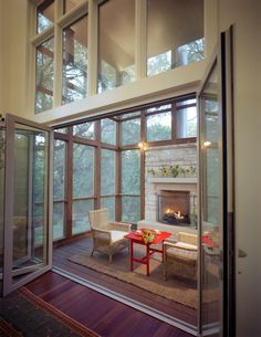 Screen porch at Robbs Run House by McKinney York Architects Atrium House, Beav, Master Bedroom Bathroom, Interior Architecture, Interior Design, Home Porch, Fancy Houses, Room Additions, Beautiful Living Rooms