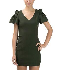 Оливковое флаттер рукава Вырез-платье