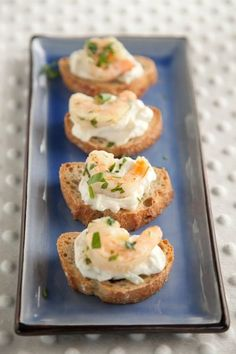 Paula Deen Shrimp Crostini...I make these foe all family functions and they are sooooo good!