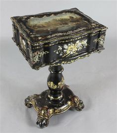 Antique Victorian Mother Of Pearl Inlay Ebonized Desk Set Inkwell Classical Bright In Colour Other Antique Decorative Arts Antiques