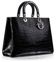 "Dior DIORISSIMO Crocodile ""Diorissimo"" bag Soft semi-matt black crocodile ""Diorissimo"""