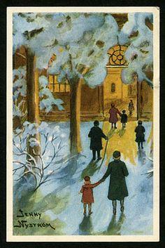 Julkort av Jenny Nyström. Hjärt & Lungfonden. Utgivet år 1993.