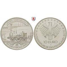 Bundesrepublik Deutschland, 10 Euro 2010, 175 Jahre Eisenbahn, D, PP: 10 Euro 2010 D. 175 Jahre Eisenbahn. Polierte Platte 22,00€ #coins