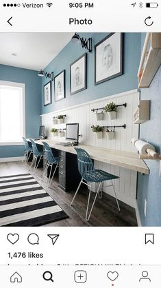√ 15 Creative Home Office Ideas, Design, and Decor for Inspiration - Single Voice Kids Office, Family Office, Office Playroom, Home Office Space, Home Office Design, Home Office Decor, Family Room, Home Decor, Office Ideas