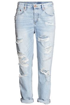 H&M - Boyfriend Low Ripped Jeans - Light denim blue - Ladies Drawstring Pants Outfit, Best Boyfriend Jeans, Perfect Boyfriend, Ripped Jeans, Mom Jeans, Nicky Ricky, Current Fashion Trends, Low Rise Jeans, Winter Fashion Outfits