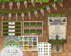 MINECRAFT BIRTHDAY PARTY - Printables Packaged For Your Minecraft Party -  Digital and Printable - High Quality 300dpi