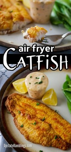 Easy fish fry at home! This easy air fryer catfish recipe lets you quickly fry up Cajun catfish at home. The catfish are fried with cornmeal and served with a spicy tartar sauce. This Cajun inspired dinner can be on the table in less than 30 minutes. #airfryer #fishfry #catfish Creole Recipes, Cajun Recipes, Potato Recipes, Seafood Recipes, Dinner Recipes, Cooking Recipes, Healthy Recipes, Quick Recipes, Cooking Gadgets