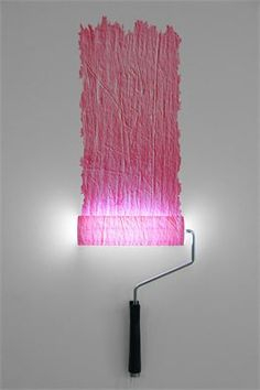 Pink paint roller wall lamp