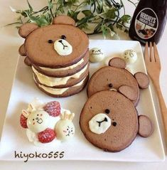 Good Food, Yummy Food, Tasty, Kreative Desserts, Pancake Art, Pancake Ideas, Kawaii Dessert, Chocolate Pancakes, Cake Chocolate
