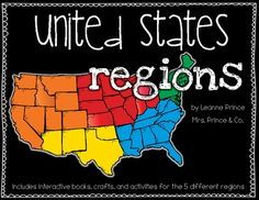 This pack is over 100 pages of U.S. region fun!!! The 5 regions included are the Northeast, Southeast, Midwest, Southwest, and West. For each region, I've included an interactive book filled with lots of information, a word search, craft, different writing activities to go along with the craft, and a colorful map of the region. $7.20