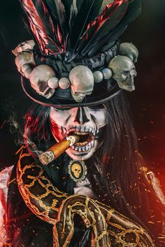 halloween costumes Inspiration & accessories for your DIY Witch Doctor halloween costume idea - witch doctor makeup,witch doctor,witch doctor makeup tutorial,witch doctor costume,wi Doctor Halloween Costume, Voodoo Costume, Voodoo Halloween, Voodoo Dolls, Halloween Makeup, Diy Halloween, Wizard Costume, Halloween Decorations, Papa Legba