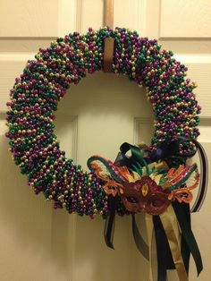 Hey, I found this really awesome Etsy listing at https://www.etsy.com/listing/121682265/mardi-gras-beaded-wreath