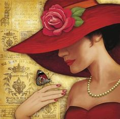 Photo Girl in a red hat with a butterfly on her hand