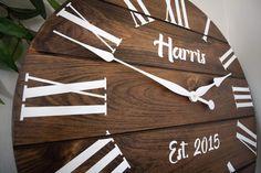 Big Wall Clocks, White Clocks, Handmade Clocks, Handmade Home Decor, Wooden Clock, Wooden Walls, Walnut Wood Color, Dark Walnut, Personalized Clocks