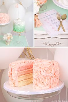 Mint  Peach Dessert Table da Jenna Rae Torte | TheCakeBlog.com
