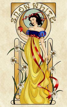 Snow White Art Nouveau Framed Art Print by Disney Princess Snow White, Snow White Disney, Disney Princess Art, Disney Fan Art, Disney Love, Disney Magic, Punk Princess, Disney Girls, Princesse Walt Disney