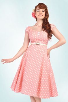 Collectif Cloting Dolores Pink Polkadot Swing Dress 17679 20151119 0017