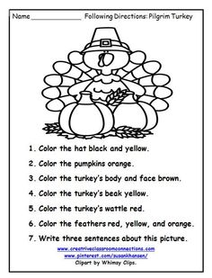 This free turkey worksheet provides fun for students to write and follow directions. More free printables at pinterest.com/susankhansen/