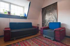in Amsterdam, Netherlands. Large split level room to acc. 3 people ( possible 4 but then a little crowded but cheaper!!)  with fascilities as coffee/tea, radio, fridge,   an ajacent bathroom and own toilet (extra  toilet owner downstairs) ,microwave, wifi  Typical Amsterdam...
