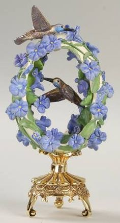 """FABERGÉ eggs__ """"Friends in the GARDEN"""". Franklin Mint Floral Hummingbird Egg, House Of Faberge. Jeweled Beauties of the Garden Egg by Franklin Mint . replacements.com"""