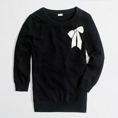 J.Crew Factory Charley sweater in bow  So Parisian chic in contrasting black and white, with a cute bow to top it off!