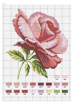 Bordados bonitos de rosas en punto de cruz06