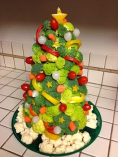 Como hacer arbolitos navideños con verduras - Recetariosenlinea