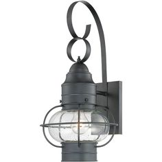 "View the Quoizel COR8410 Cooper 1 Light 21"" Tall Outdoor Wall Sconce with Seedy Glass at LightingDirect.com."