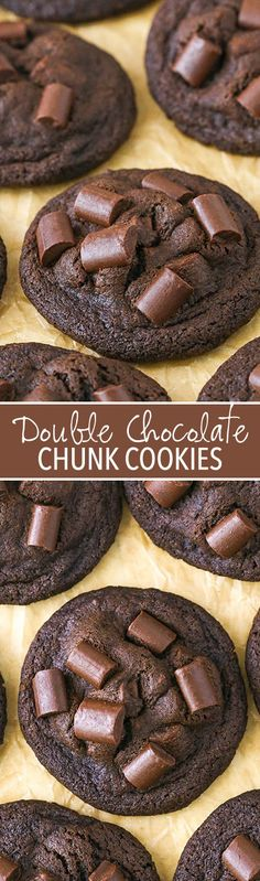 Double Chocolate Chunk Cookies - dense and chewy and great for cookie trays!