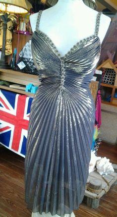 Nicole Bakti Size:  S  Metallic liquid metal  Gold lame Dress bust 36 #NicoleBakti #Dress #Cocktail