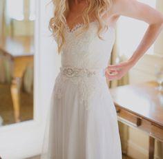 Gorgeous Lace Chiffon Wedding Dress With Beaded Belt Embellishment