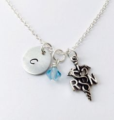 Nurses Day Gift - Nurse Necklace - RN Necklace - LPN Necklace - Handstamped Jewelry - Initial Necklace - Registered Nurse