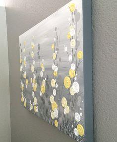 18x24 Wall Art Yellow Grey Whimsical Flower von MurrayDesignShop