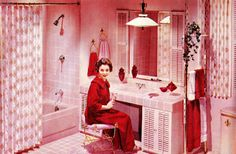 {Incredibly pink vintage bathroom image from the pages of the fall and winter Montgomery Ward catalog of 1958. Image via the terrific pages of saltycotton on Flickr.}