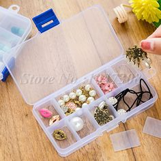 10 Compartment Small Organiser Storage Plastic Box Craft Nail Fuse Beads 10 Slots Jewelry Box Earring Container Home Organizer Great for organising jewellery, nails or screws, etc $1.23 per box