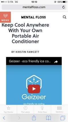 talk about Geizeer on @mentalfloss  Thank you very much for your support!  You can BUY Geizeer from this link: www.geizeer.com  #design #ice #1cent #idea #idea3Di #crowdfunding #indiegogo #madeinitaly #geizeer #cooling #mentalfloss  http://mentalfloss.com/article/83249/keep-cool-anywhere-your-own-portable-air-conditioner