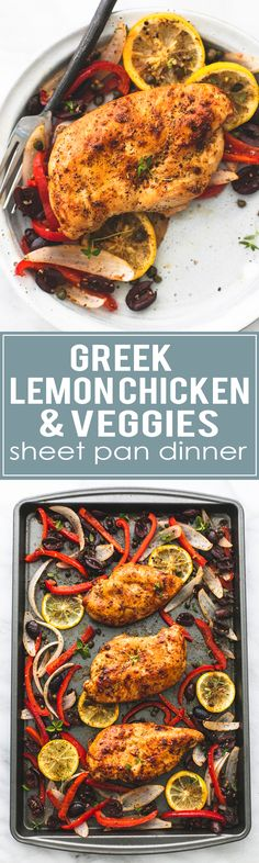 Easy healthy Baked Greek Chicken & Veggies Sheet Pan Dinner - an easy to make and incredibly tasty meal the whole family loves! | lecremedelacrumb.com