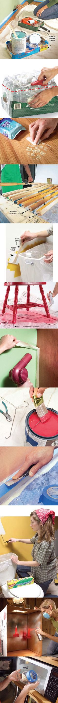 Painting a room gives it an instant makeover but cleaning up during and after can feel like it takes forever. These easy tips will help you minimize the mess while you paint and cut your cleanup time in half. Find all 11 mess-free painting tips at http://www.familyhandyman.com/DIY-Projects/Painting/Painting-Tips/mess-free-painting-tips/View-All